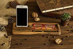 Офисный настольный органайзер с персонализацией из дерева для телефона очков ключей
