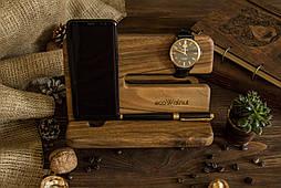 Настольный офисный органайзер из дерева для телефона планшета часов