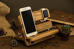 Персонализированная док станция из дерева для iPhone iWatch iPad