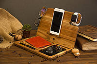 Дерев'яний настільний органайзер для телефону, планшета, окулярів, годин iWatch, ключів