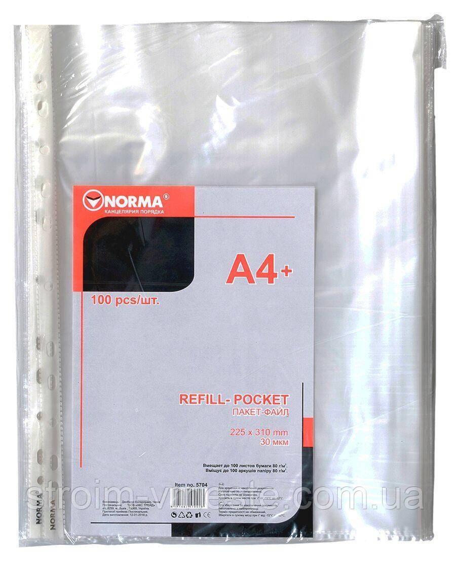 Файл для документов А4 NORMA 5704 PP 30 мкм прозрачный 100 шт