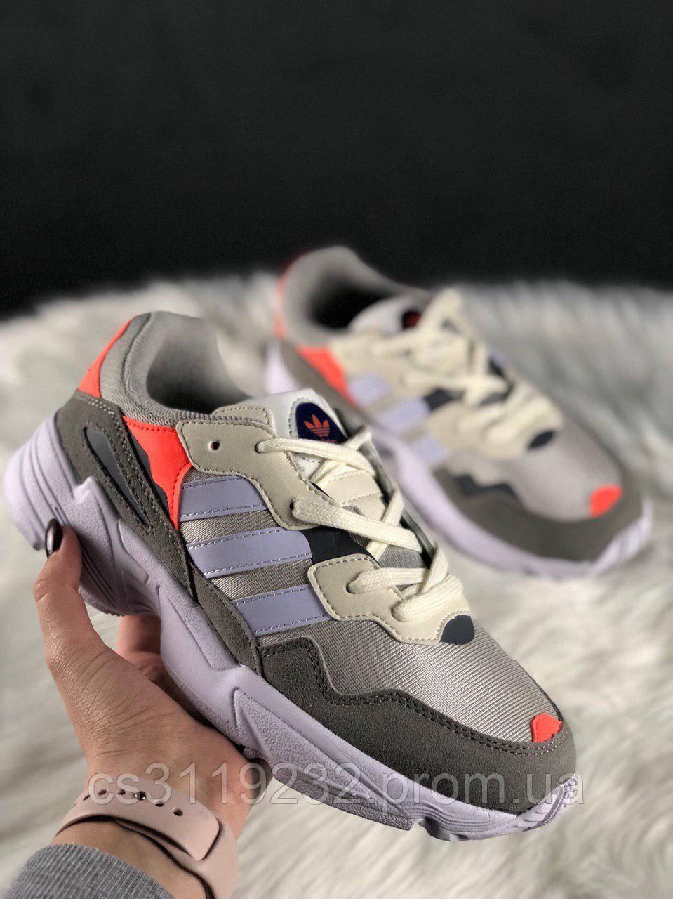 Женские кроссовки Adidas Yung 96 White Grey Orange (белый/серый/оранжевый)