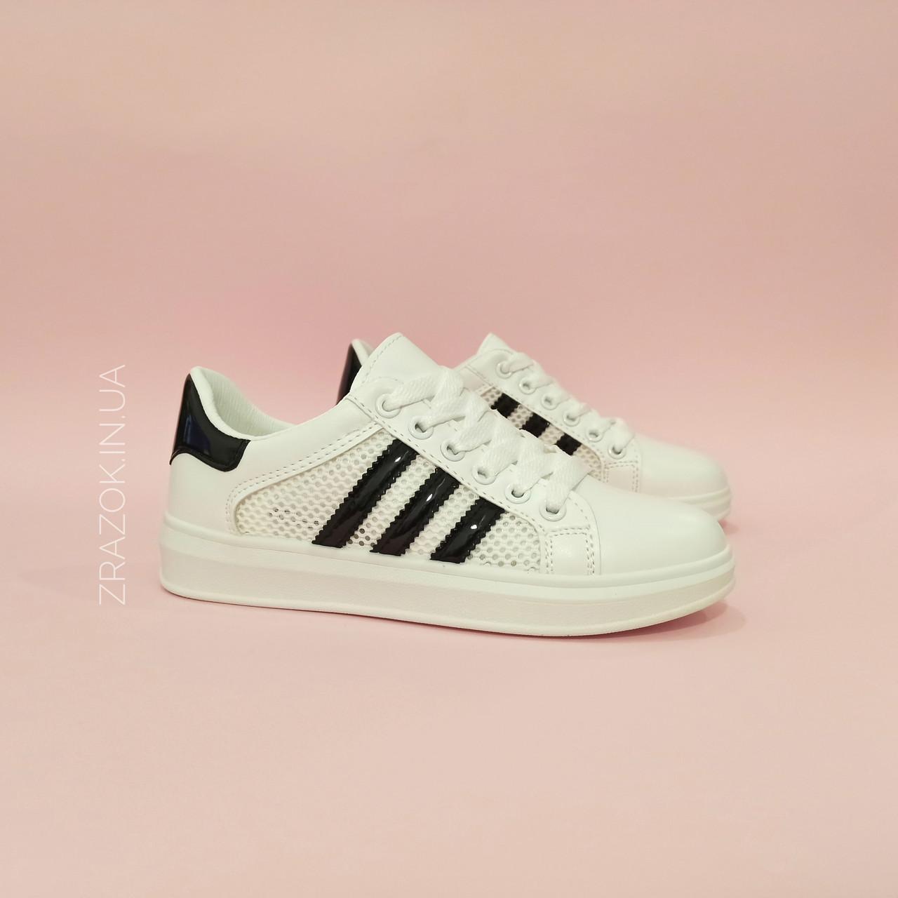 Кросівки білі сітка жіночі в стилі adidas superstar Stan smith адідас літні кеди еко шкіряні