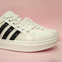 Кроссовки белые сетка женские в стиле adidas superstar Stan smith адидас летние кеды эко кожаные, фото 3