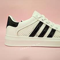 Кросівки білі сітка жіночі в стилі adidas superstar Stan smith адідас літні кеди еко шкіряні, фото 2