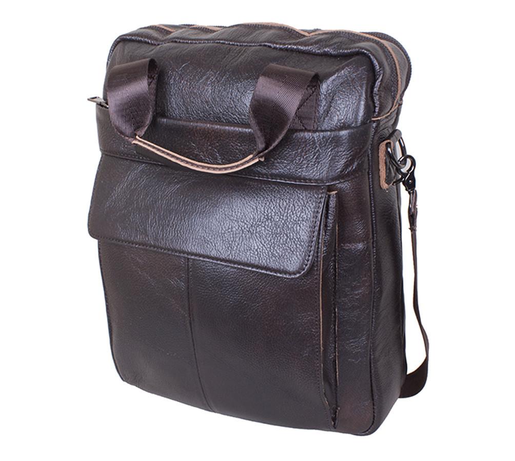 Мужская кожаная сумка через плече Италия 37х29х10 см 177162