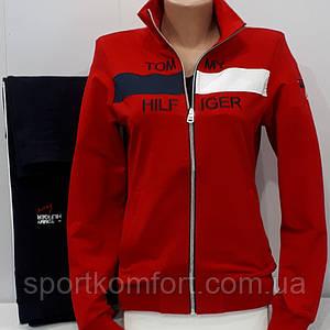 Спортивный костюм для девушек, Турция, копия TOMMY HILFIGER, красный/чёрный, 77 хлопок, брюки прямые, обмен.