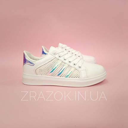 Кроссовки белые сетка женские в стиле adidas superstar Stan smith адидас летние кеды эко кожаные, фото 2