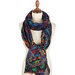 Палантин шерстяной 10649-15, павлопосадский шарф-палантин шерстяной (разреженная шерсть) с осыпкой, фото 2