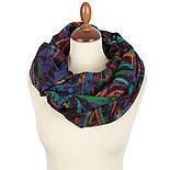 Палантин шерстяной 10649-15, павлопосадский шарф-палантин шерстяной (разреженная шерсть) с осыпкой, фото 3