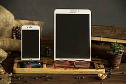 Настольный деревянный органайзер подставка для планшета, смартфона, ручек, очков