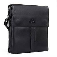 Мужская сумка через плечо классическая натуральная кожа BRETTON (25*22*7 см), BE 3387-3 black