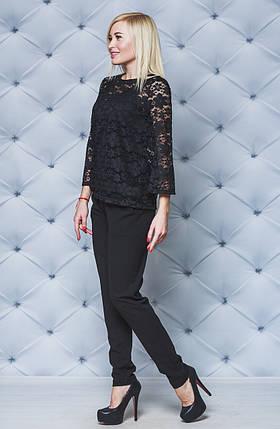Женский нарядный костюм с кружевом черный. Большие размеры!, фото 2