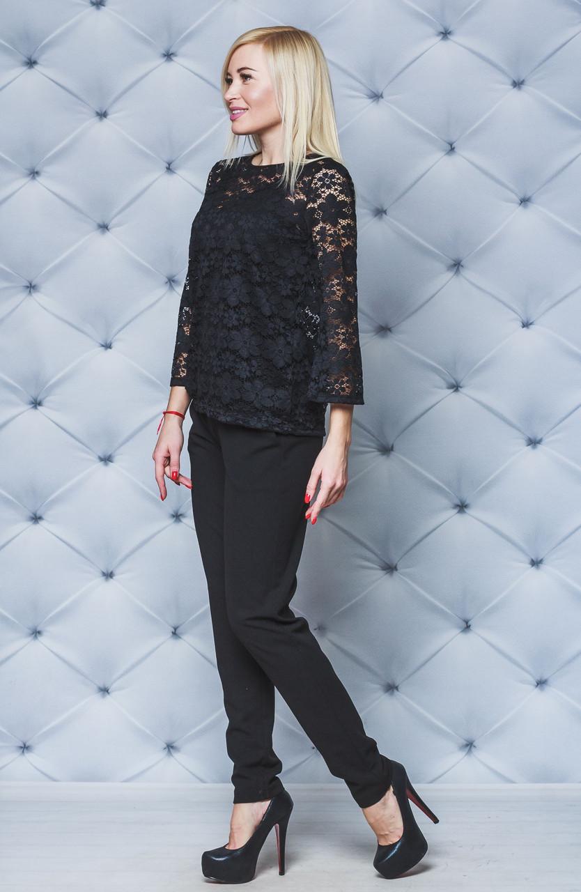 Женский нарядный костюм с кружевом черный. Большие размеры!