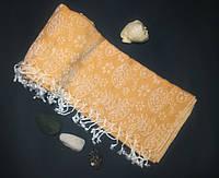 Полотенце в сауну Пештемаль 100*180 см с бахромой Желтый