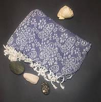 Полотенце в сауну Пештемаль 100*180 см с бахромой Синий