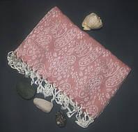 Полотенце в сауну Пештемаль 100*180 см с бахромой Розовый