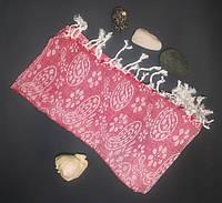 Полотенце в сауну Пештемаль 100*180 см с бахромой Красный