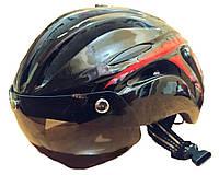 Велошлем с козырьком и съемным стеклом черный
