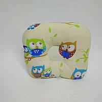 Ортопедическая подушка для новорожденных Тм Миля Сова на голубом фоне 22 х 26 см