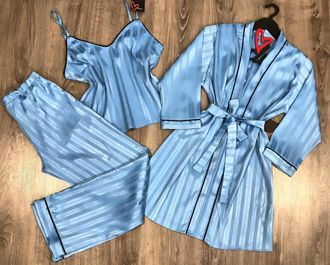 Голубой комплект домашней одежды халат+майка+штаны тисненая полоска.