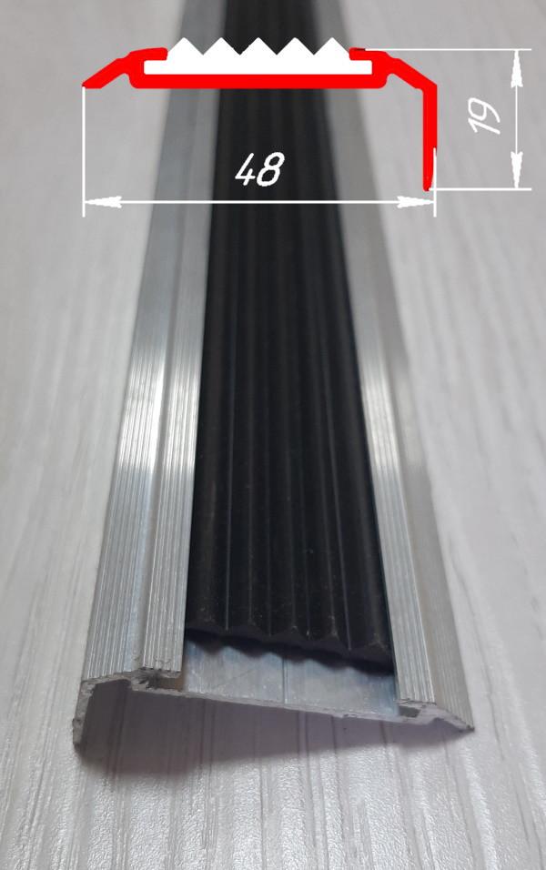 Алюминиевый угловой порог с резиновой вставкой, 19 мм х 48 мм без покрытия 2,0 м