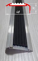 Алюминиевый угловой порог с резиновой вставкой, 19 мм х 48 мм без покрытия 2,0 м, фото 1