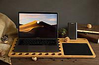 Органайзер из дерева ореха. Подставка охлаждающая под Macbook, телефон на рабочий стол