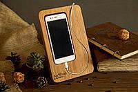Докстанция из дерева для телефона. Настольный органайзер с логотипом