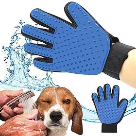 Перчатки для вычесывания шерсти домашних животных True Touch