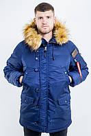 Мужская зимняя парка синего цвета от Olymp, тёплая куртка аляска N-3B Slim Fit