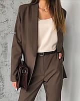 Женский пиджак костюмка шоколад черный S-M M-L