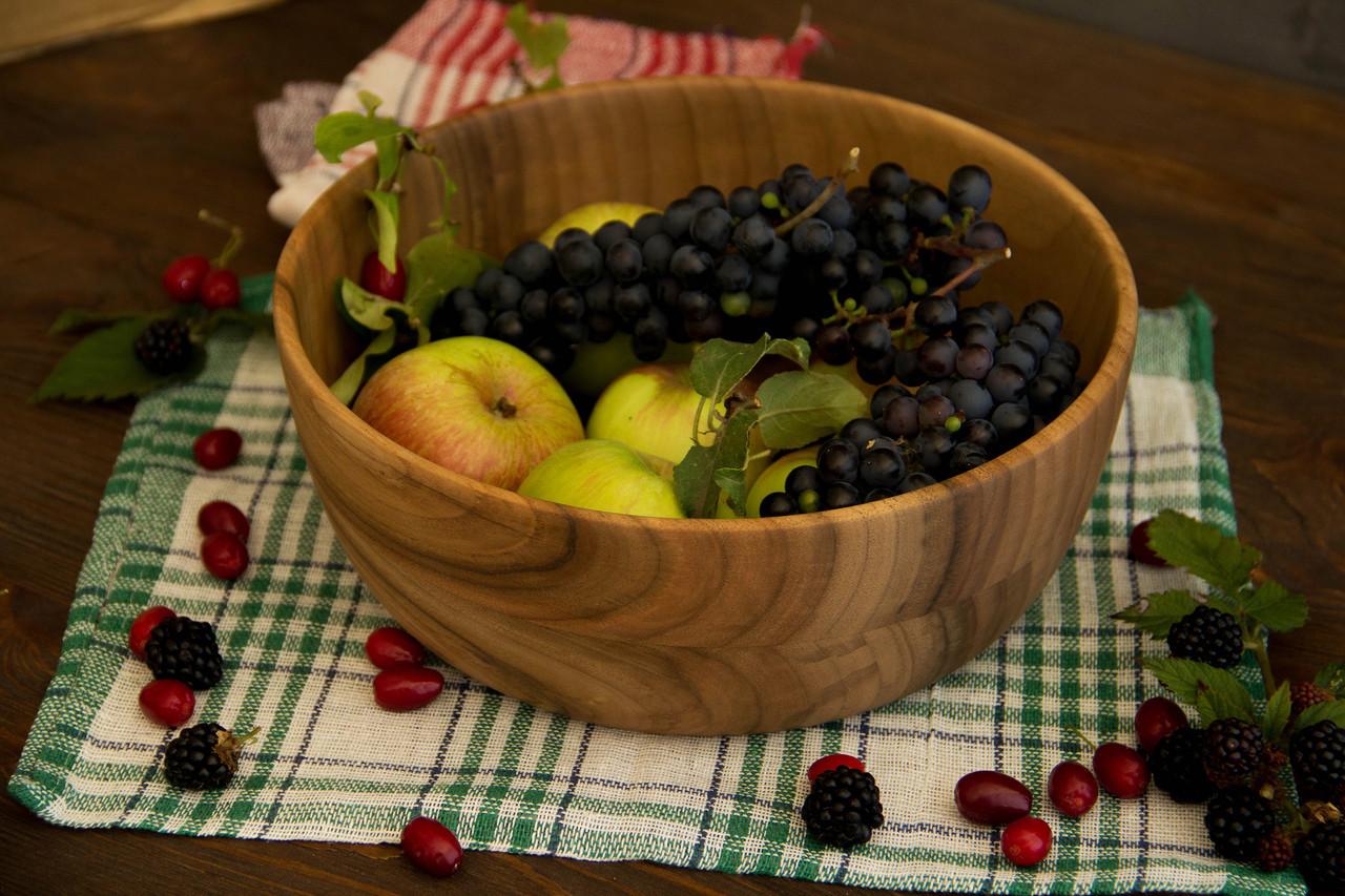 Салатниця з дерева на кухню для сервірування та подавання фруктів, овочів