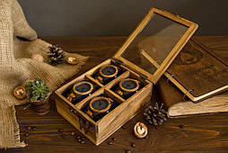 Коробка для наручних годин. Скринька з дерева горіха для годинника