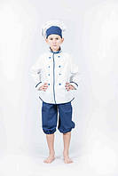 """Костюм """"Шеф-кухар Люкс"""" (кітель, ковпак, бриджі), біл/синій. АКЦІЯ -25% до 03.04.20, фото 1"""