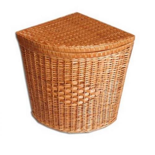 Плетений кошик для білизни кутова з натуральної лози 55х35х35 см