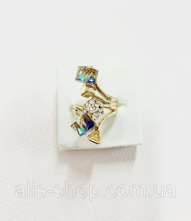 Безрозмірне кільце в золоті з різнокольоровими камінчиками