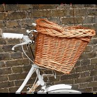 Велосипедная плетеная корзина на руль из лозы (длина 42 см, ширина 35, высота 22, высота с ручкой 40