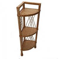 Плетеная угловая этажерка из лозы, три полки (высота 32 см, ширина 114 см, вес 2 кг)