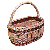 Плетеная корзина из натуральной лозы (длина 34, ширина 22, высота 18, высота с ручкой 38 см). Плетений кошик