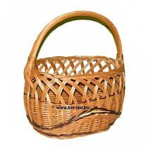 Плетеная корзина для Пасхи ажурная из лозы (длина 39 см, высота бортика 22, высота с ручкой 41)