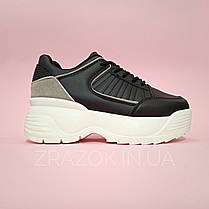 Кроссовки черно белые высокие на толстой подошве в стиле fila disruptor фила на грубой подошве черные, фото 3