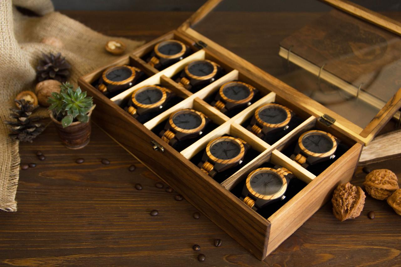 Креативный элитный подарок. Деревянный органайзер унисекс с гравировкой для часов украшений личных вещей