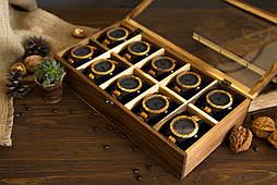 Креативний елітний подарунок. Дерев'яний органайзер унісекс з гравіюванням для годин прикрас особистих речей