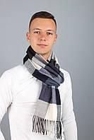 Мужской шарф Бенджамин, клетка (серый+фиолетовый)