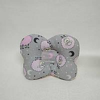 Детская ортопедическая подушка с держателем для соски Тм Миля Розовые Барашки Звезда