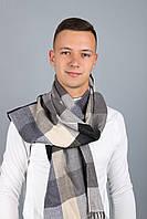 Мужской шарф Бенджамин, клетка (серый+бежевый)