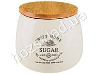 Банка для сахара Stenson Глазурь с бамбуковой крышкой 1л 14х14х12см