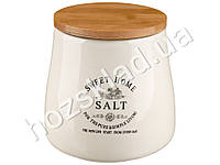 Банка для соли Stenson Глазурь с бамбуковой крышкой 1,2л 14х14х13,7см