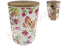 Банка для хранения продуктов бамбуковая Бабочки 10,5х10,5х14,5см